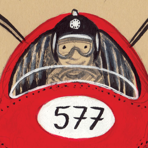 <b>Vintage Racer 577</b> - Gouache, Pencil and Crayon
