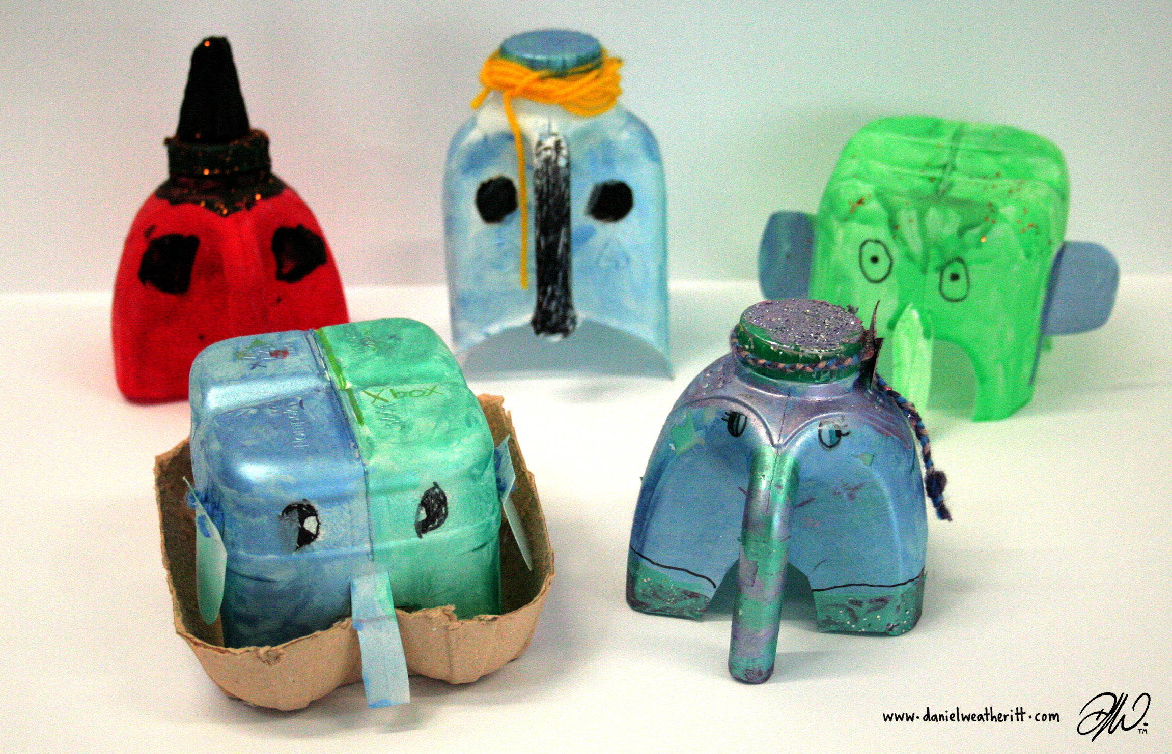 <b>Recycled Junk Elephant Sculptures</b> - by Cragside Primary School Pupils - 4 of 4