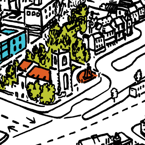 <b>Stockton Town Map</b> - Pen & Ink with Digital Colour Highlights