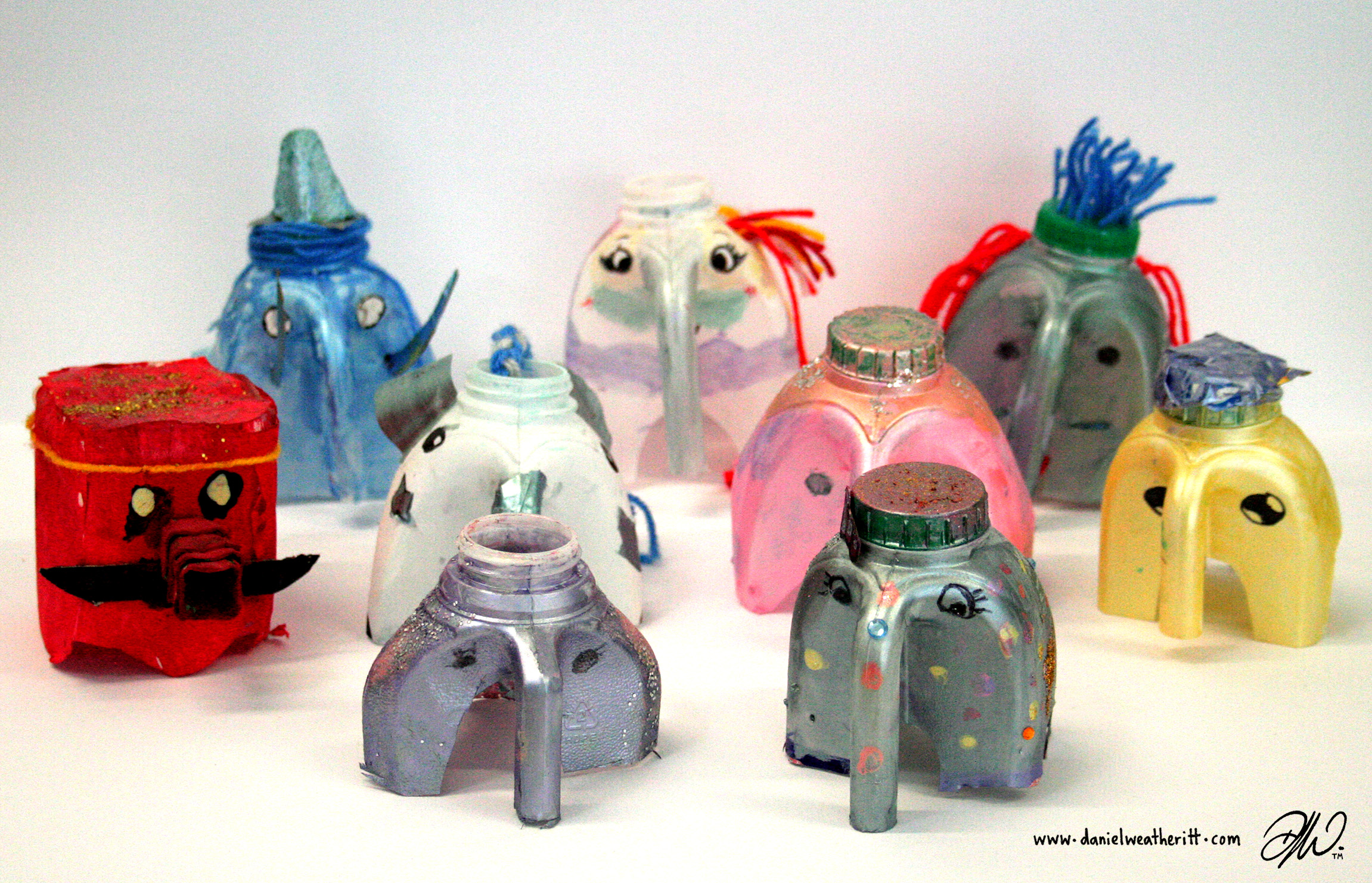 <b>Recycled Junk Elephant Sculptures</b> - by Cragside Primary School Pupils - 3 of 4