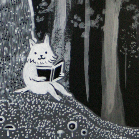 <b>Forest Reading</b> - 3D layered artist box - white ink on card