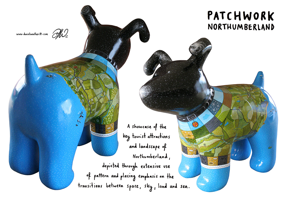 <b>Great North Snow Dogs</b> - Patchwork Northumberland Design Development - 3 of 18